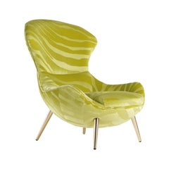 Curacao Bergère Armchair in Green Fabric with Metal Legs by Roberto Cavalli