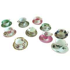 Curated Set of 10 Vintage Floral English Bone China Tea Cups and Saucers