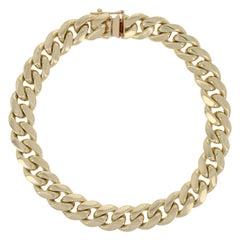 Curb Chain Bracelet 10 Karat Yellow Gold Men's