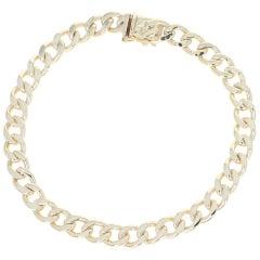 Curb Chain Bracelet, 14 Karat Yellow Gold Men's Gift