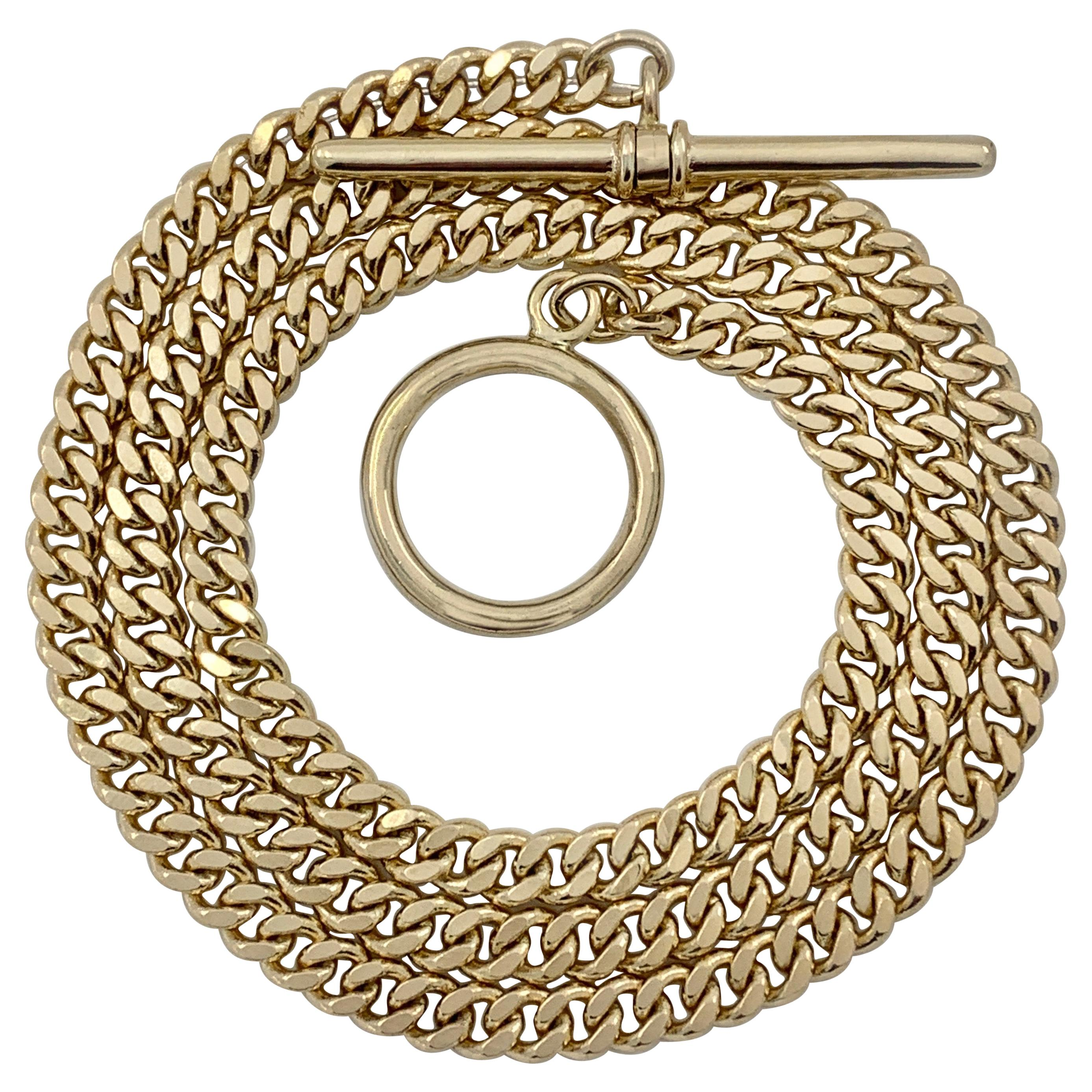 Curb Chain Necklace in Yellow Gold with Oversized Toggle Closure