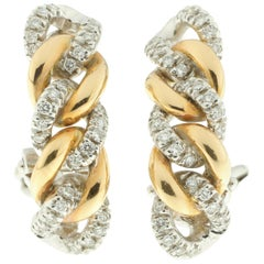 Curb Link Rose and White Gold Earrings Set with White Diamonds