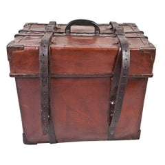 Cured Leather Steamer Luggage Trunk Early, 1900s
