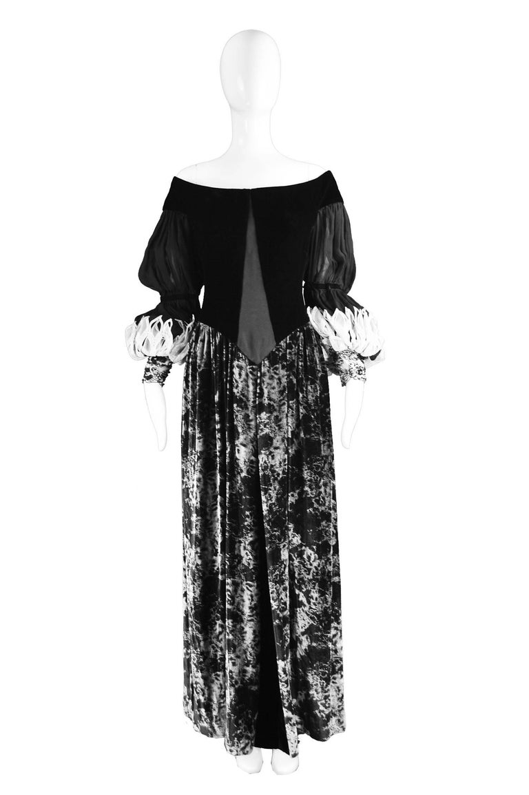"Curiel Couture Vintage Black & Grey Printed Velvet & Chiffon Evening Gown, 1970s  Estimated Size: UK 12/ US 8/ EU 40. Please check measurements. Bust - 36"" / 91cm Waist - 30"" / 76cm Hips - Free Length (Shoulder to Hem) - 56"" / 142cm  Condition:"