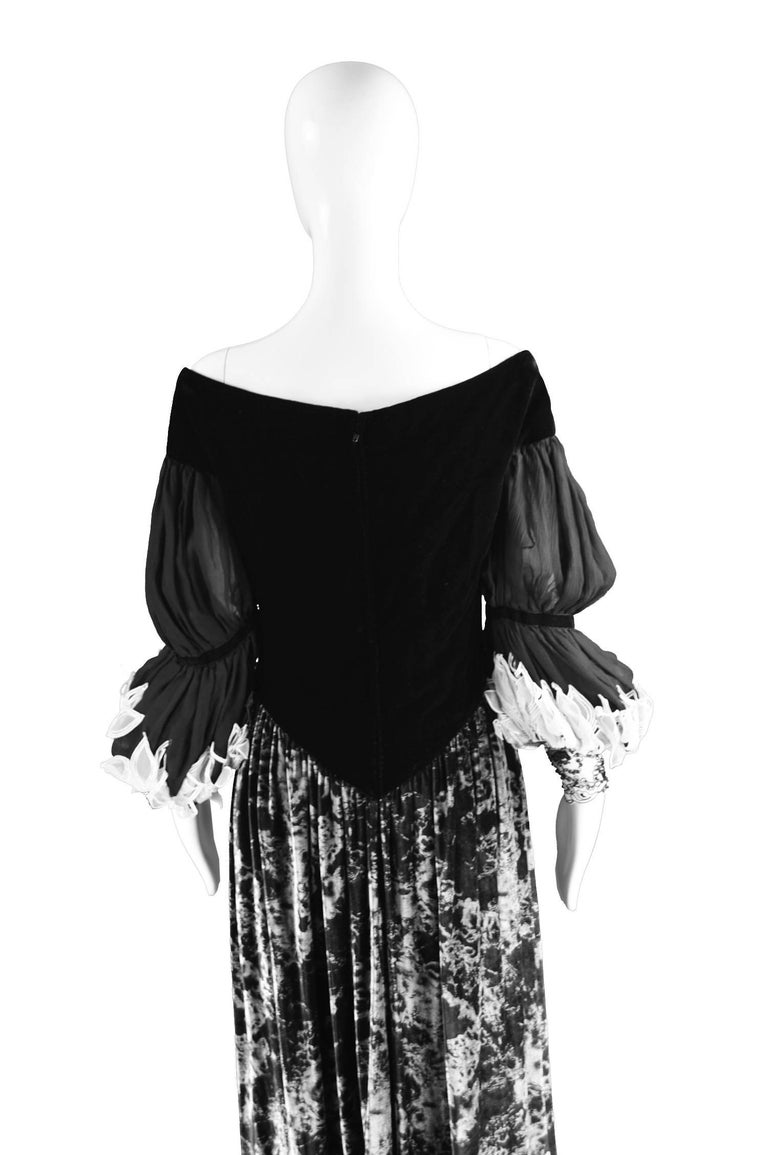 Curiel Italian Couture Vintage Print Velvet Evening Gown For Sale 4