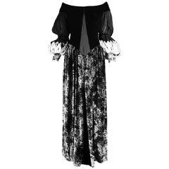 Curiel Italian Couture Vintage Print Velvet Evening Gown
