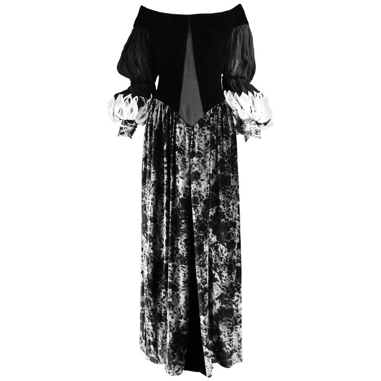 Curiel Italian Couture Vintage Print Velvet Evening Gown For Sale