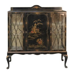 Curio Cabinet, Vitrine, Antique English Chinoiserie Style