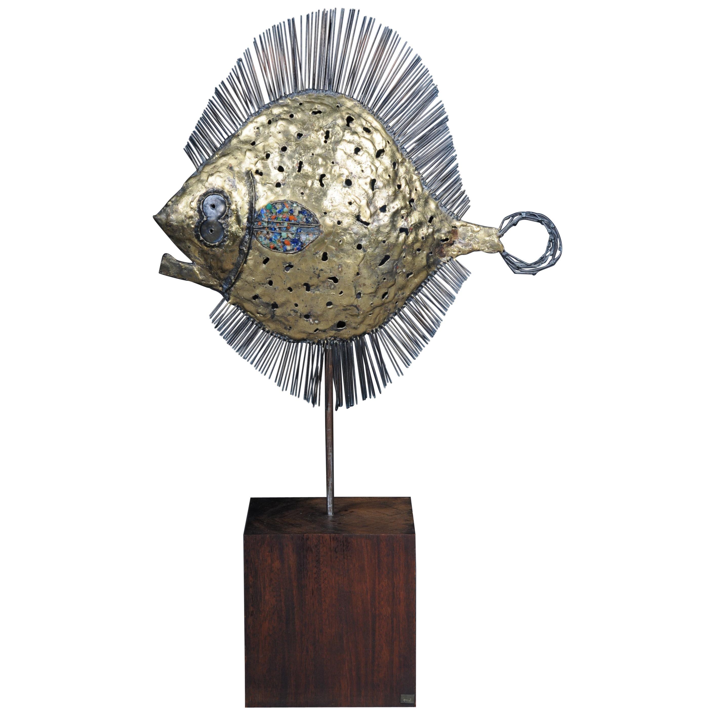 Curious and Decorative Puffer Fish Sculpture, Brass