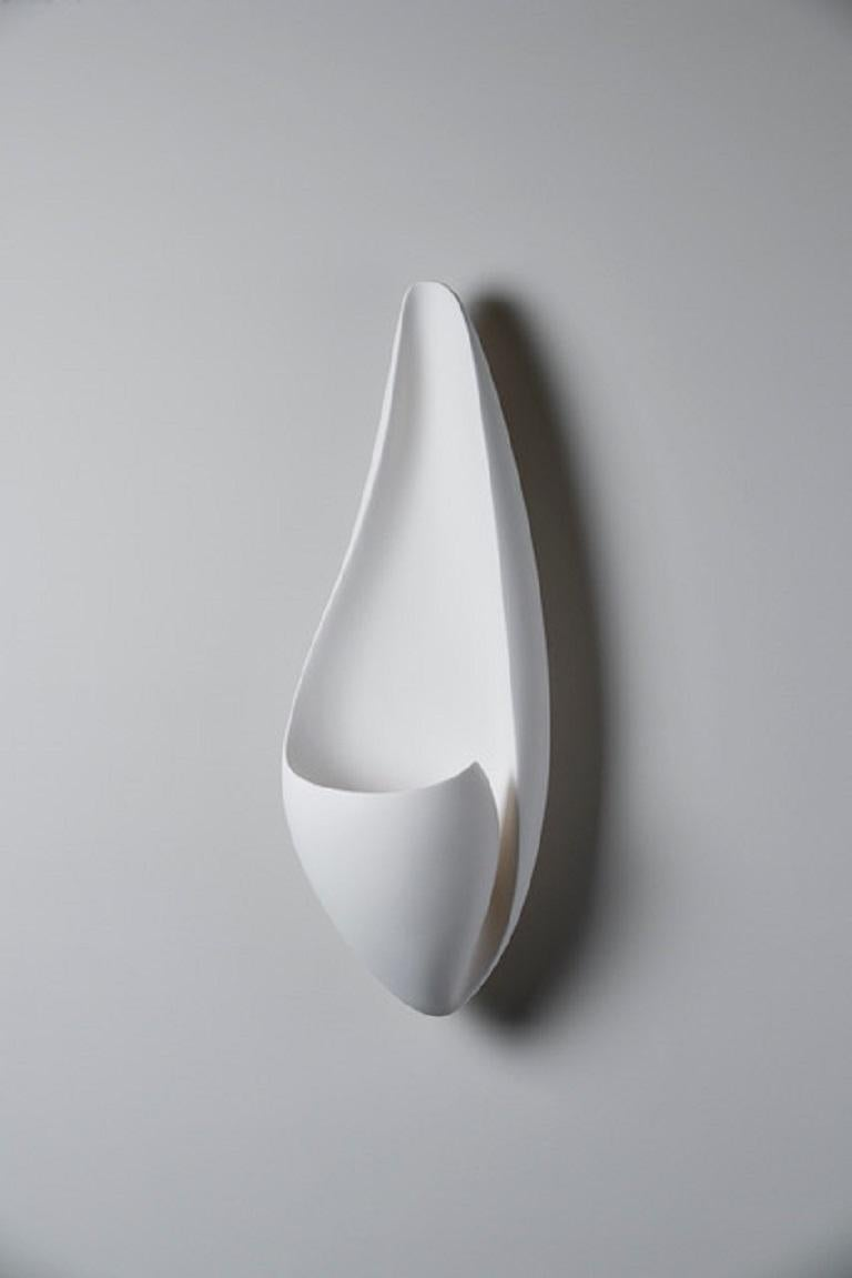 Organic Modern Curl Contemporary Wall-Mounted Sculpture in White Plaster, Hannah Woodhouse For Sale