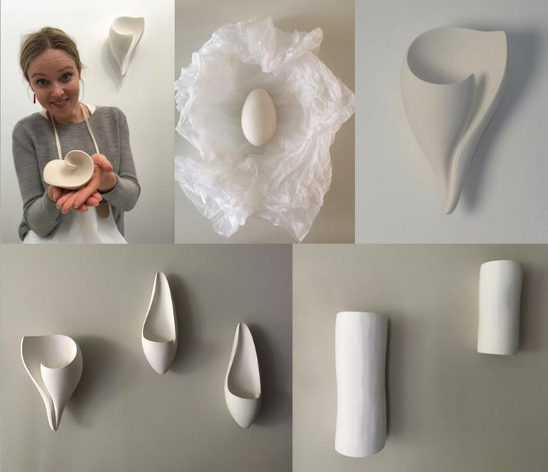Curl Contemporary Wall-Mounted Sculpture in White Plaster, Hannah Woodhouse For Sale 2