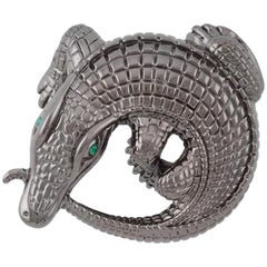 Curled Alligator Black Rhodium Plated Bronze Belt Buckle by John Landrum Bryant