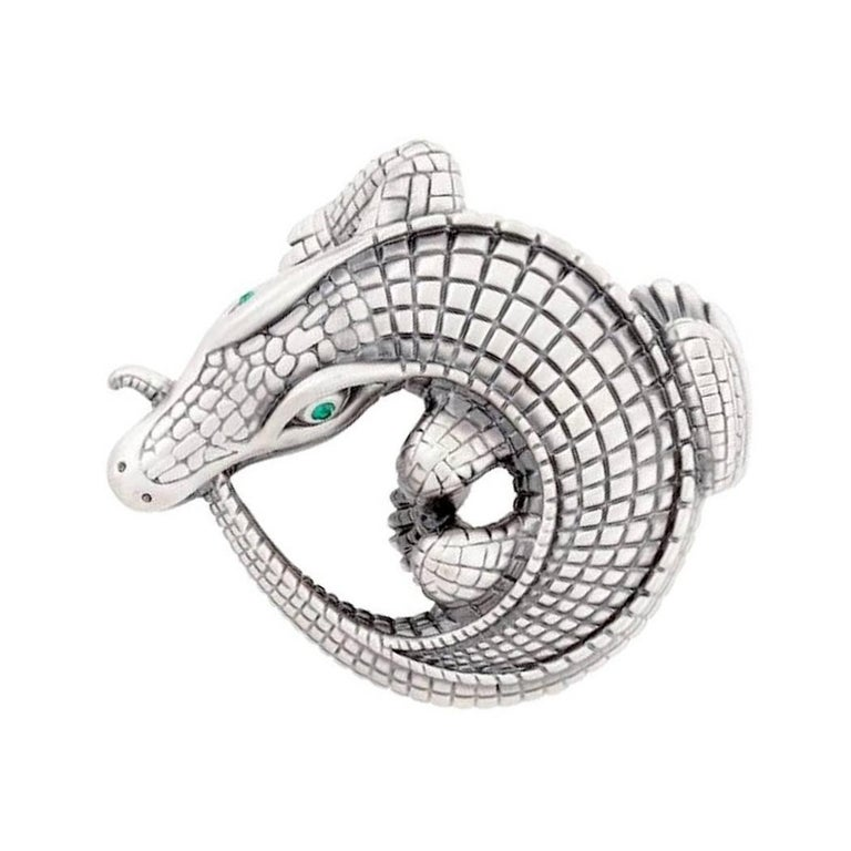 Contemporary Curled Alligator Silver Plated Belt Buckle by John Landrum Bryant For Sale