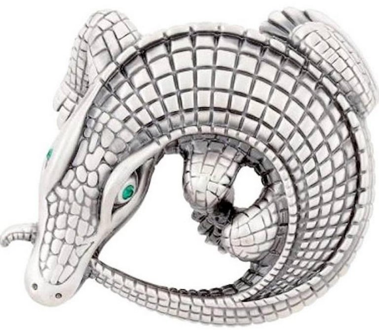 Curled Alligator Silver Plated Belt Buckle by John Landrum Bryant In New Condition For Sale In New York, NY