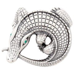 Curled Alligator Silver Plated Belt Buckle by John Landrum Bryant