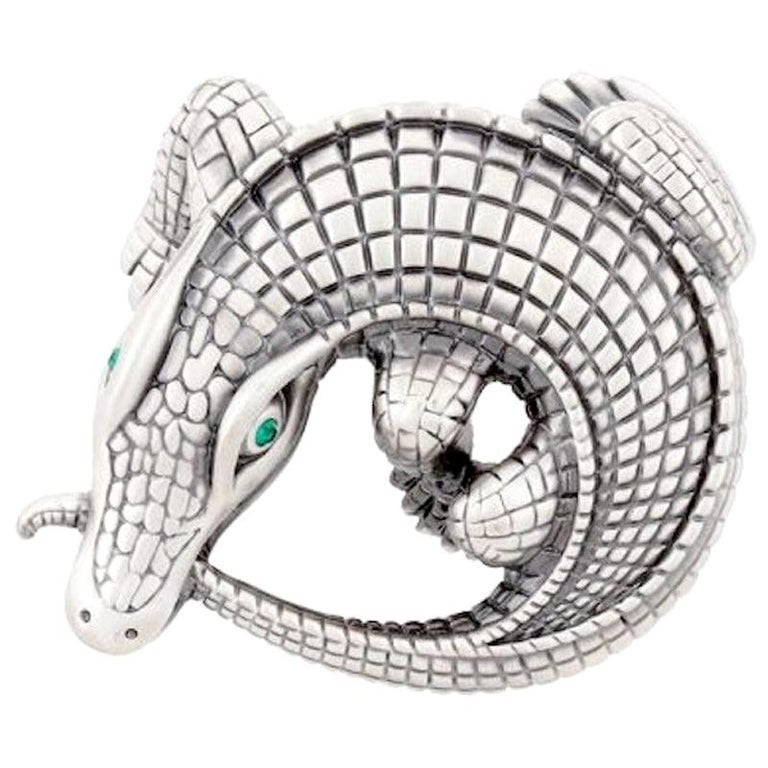 Curled Alligator Silver Plated Belt Buckle by John Landrum Bryant For Sale