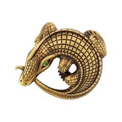 Curled Alligators Bronze Belt Buckle by John Landrum Bryant