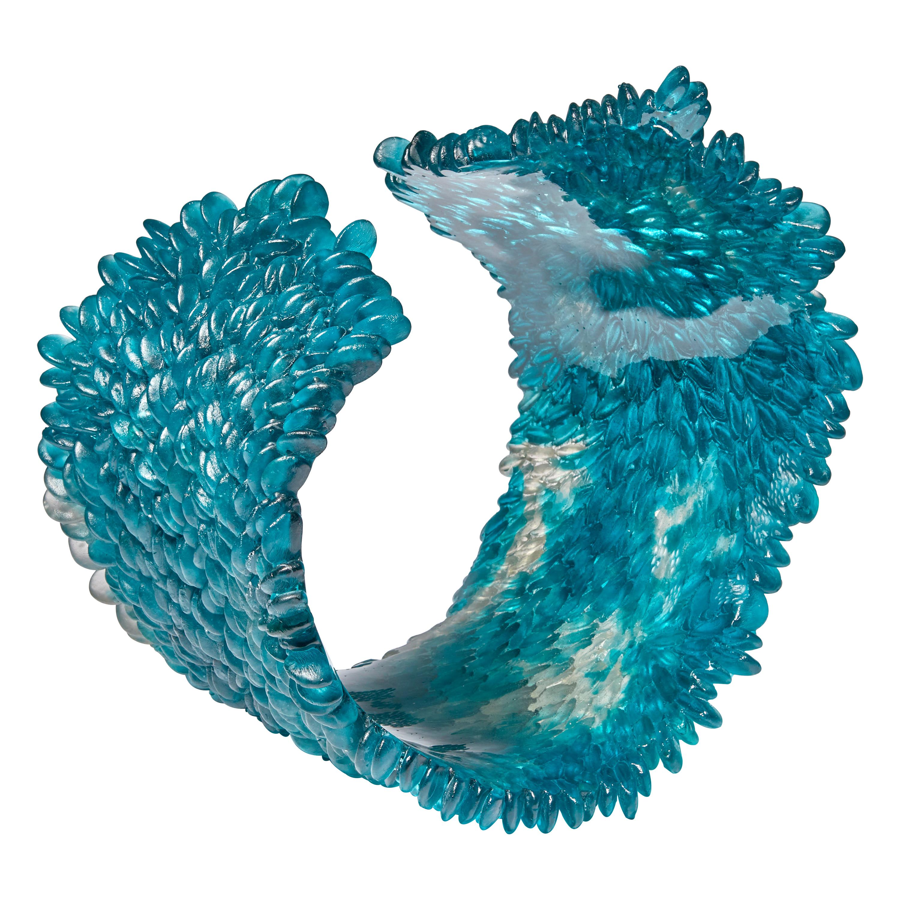 Curled Over V, a Unique Glass Sculpture in Teal & Grey by Nina Casson McGarva