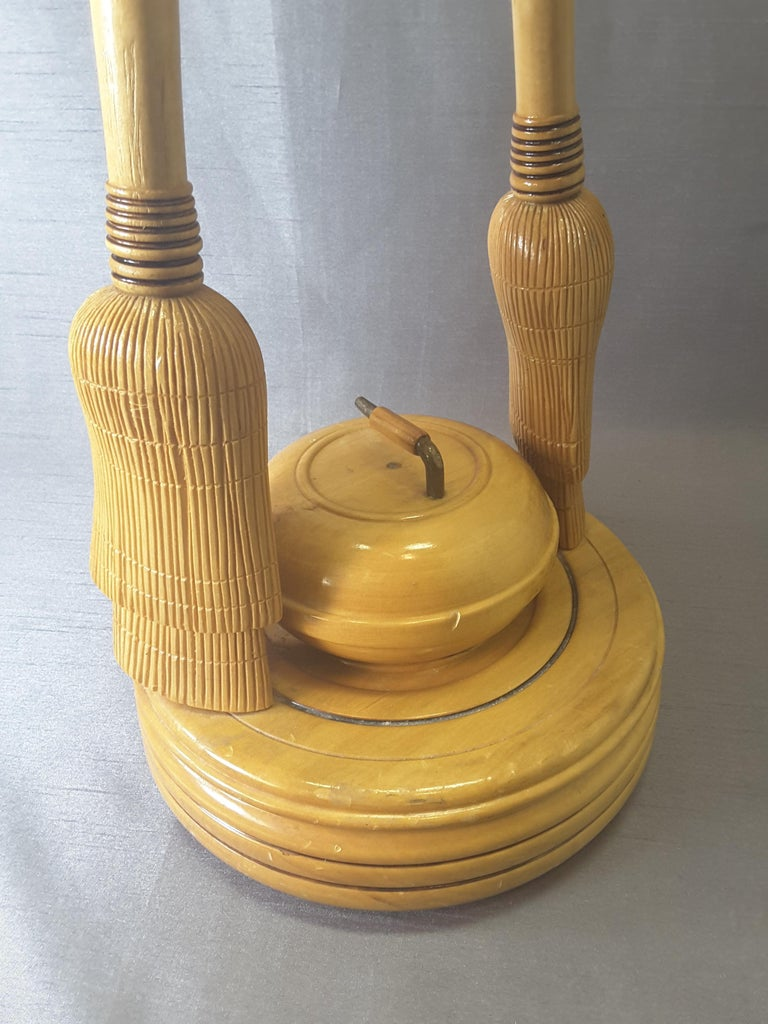 Hand-Crafted Curling Bonspiel Trophy Stand-Up Ashtray Early, 1960s For Sale