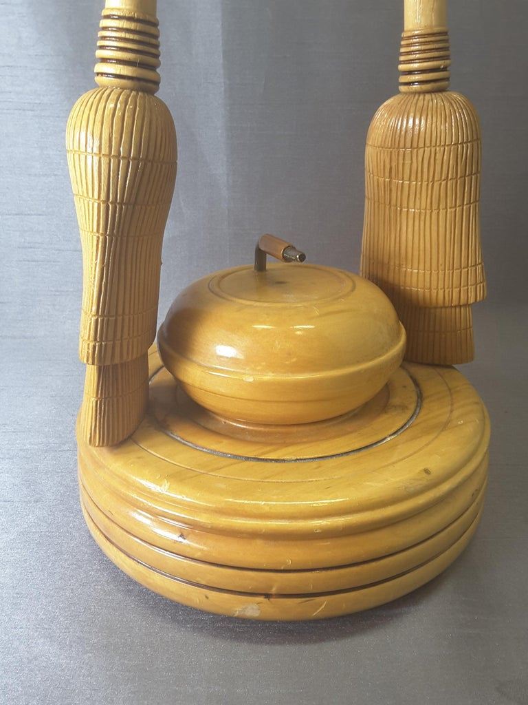 Curling Bonspiel Trophy Stand-Up Ashtray Early, 1960s In Good Condition For Sale In Ottawa, Ontario