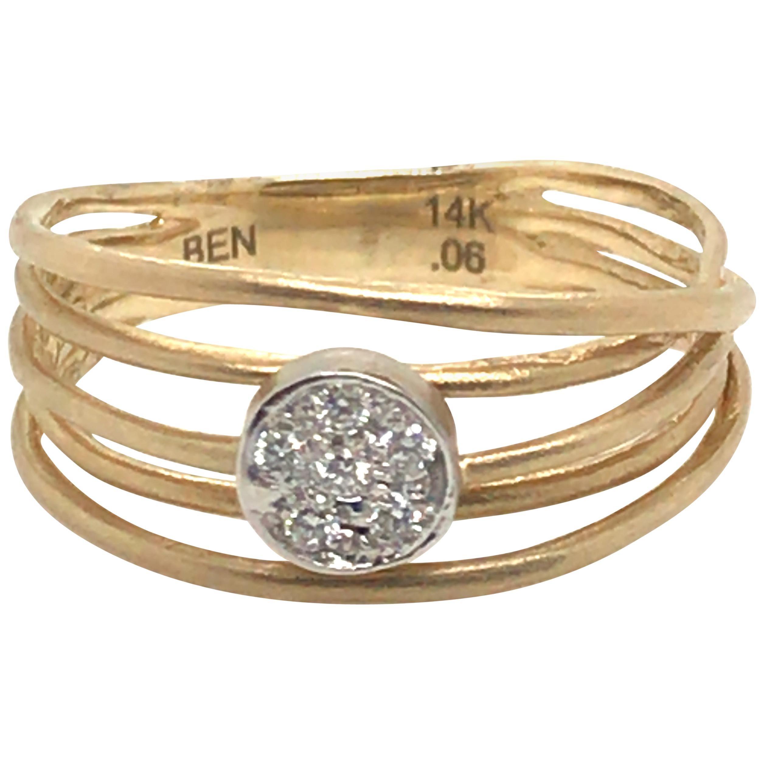 Curly Diamond Fashion Ring with 14 Karat Yellow Gold