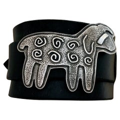 Curly Sheep leather cuff bracelet, cast sterling silver, leather adjustable cuff