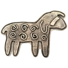 Curly Sheep, Sterling silver pin pendant Melanie Yazzie Navajo, Native American