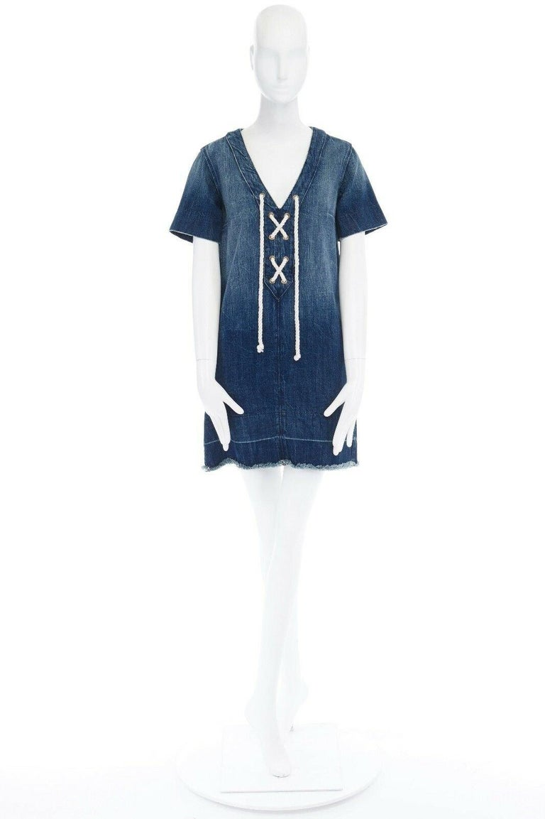 CURRENT ELLIOTT All Laced Up rope tie washed indigo denim mini casual dress S Brand: Current Elliott Model Name / Style: Denim dress Material: Cotton Color: Blue Pattern: Solid; washed denim Closure: Lace up Extra Detail: Rope laced front. V-neck.