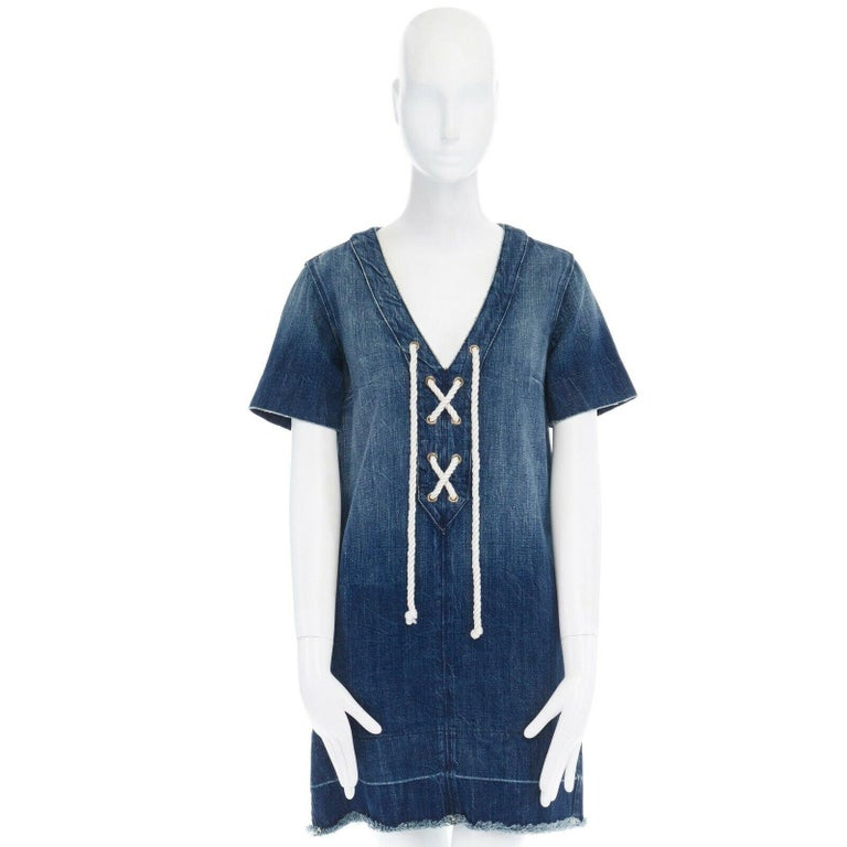 Purple CURRENT ELLIOTT All Laced Up rope tie washed indigo denim mini casual dress S For Sale