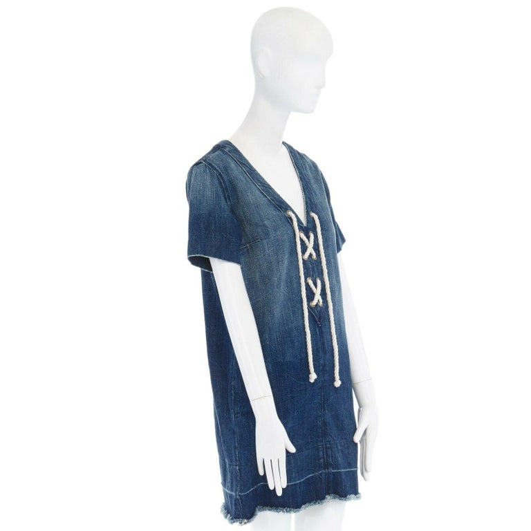 CURRENT ELLIOTT All Laced Up rope tie washed indigo denim mini casual dress S In Excellent Condition For Sale In Hong Kong, NT