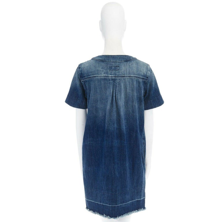 CURRENT ELLIOTT All Laced Up rope tie washed indigo denim mini casual dress S For Sale 1