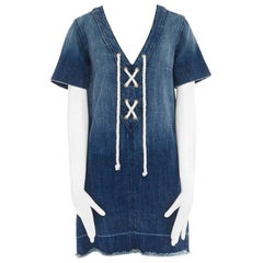 CURRENT ELLIOTT All Laced Up rope tie washed indigo denim mini casual dress S