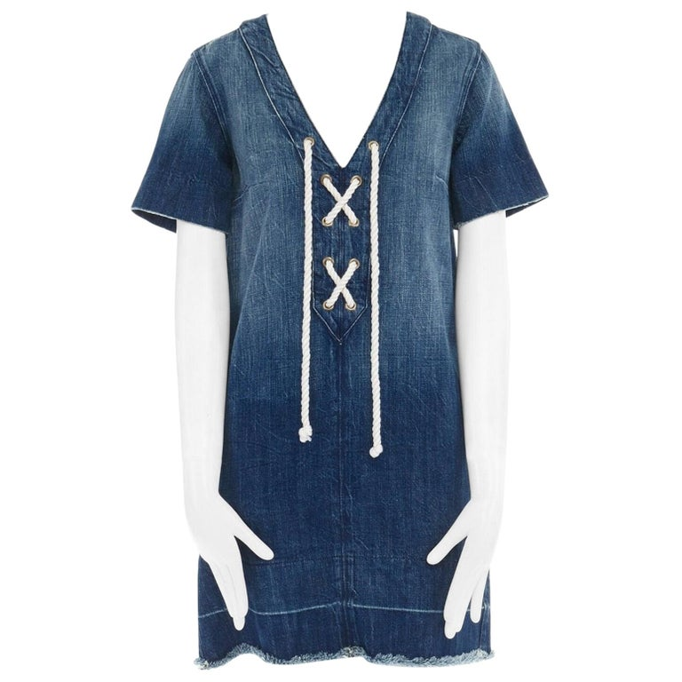 CURRENT ELLIOTT All Laced Up rope tie washed indigo denim mini casual dress S For Sale