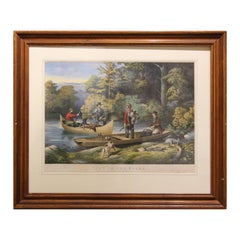 """""""Life in the Woods Returning to Camp"""" 19th Century Hand Colored Lithograph"""
