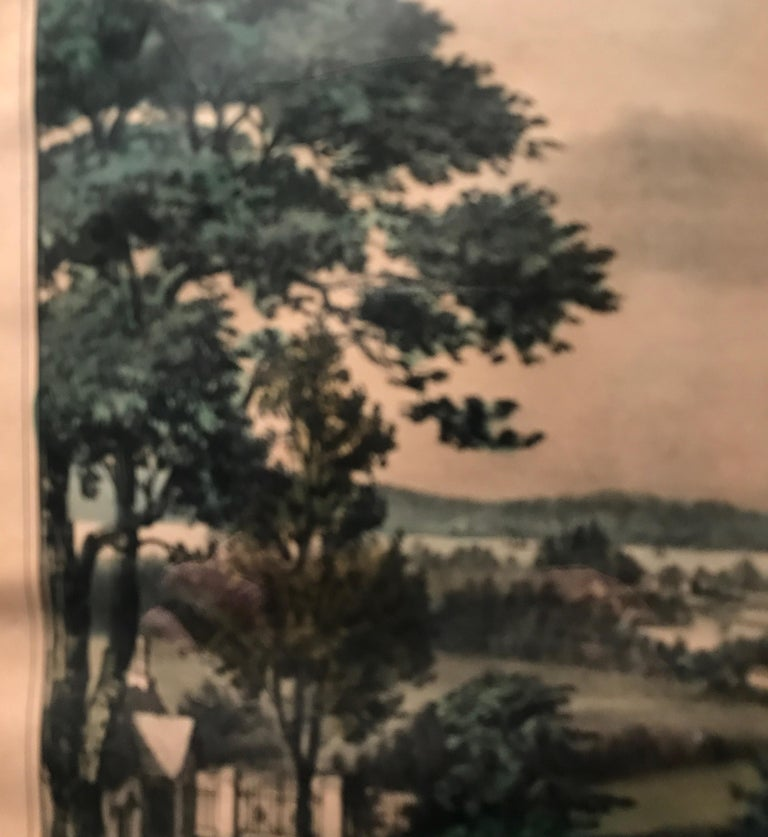 Currier and Ives Hand Colored Lithograph 'Life in the Country Evening' For Sale 2