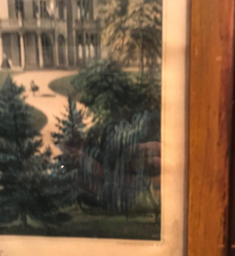 Currier and Ives Hand Colored Lithograph 'Life in the Country Evening' For Sale 3