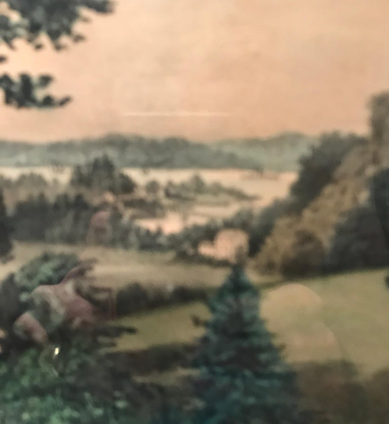 Currier and Ives Hand Colored Lithograph 'Life in the Country Evening' For Sale 8