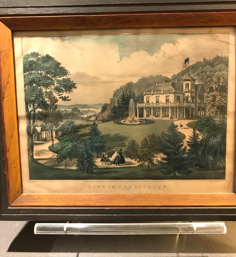 Currier and Ives Hand Colored Lithograph 'Life in the Country Evening' For Sale 12