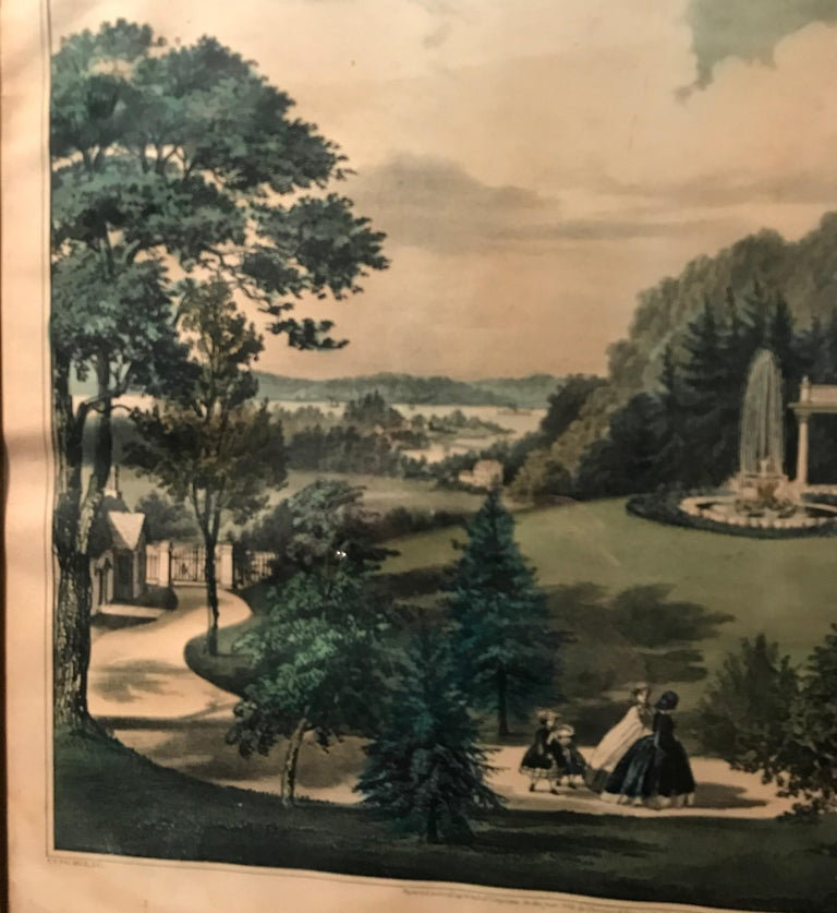 Victorian Currier and Ives Hand Colored Lithograph 'Life in the Country Evening' For Sale