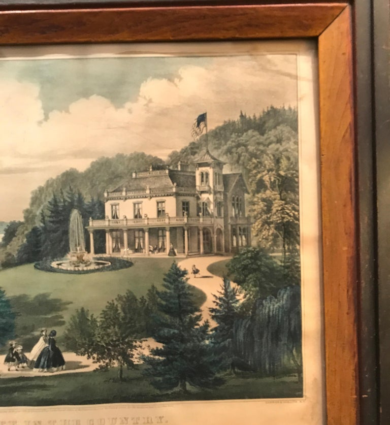 Engraved Currier and Ives Hand Colored Lithograph 'Life in the Country Evening' For Sale