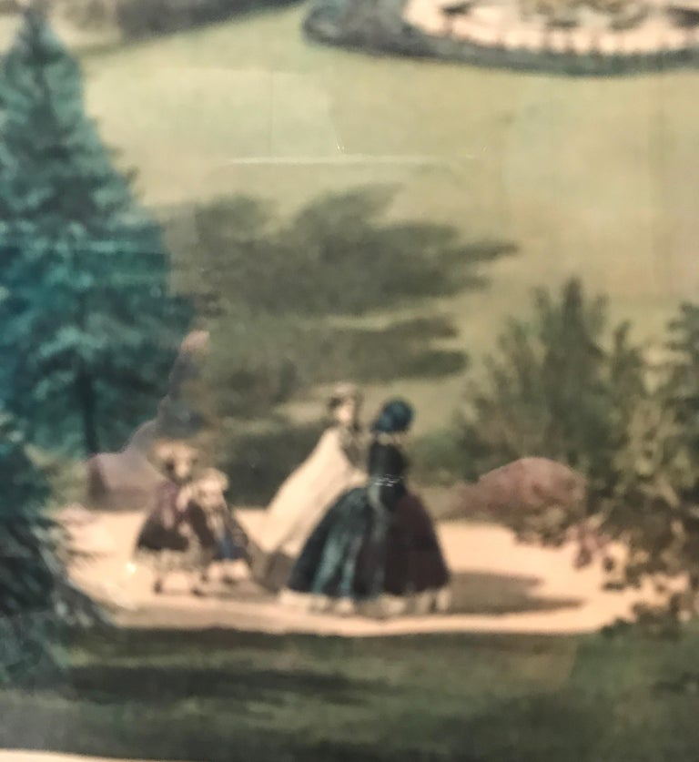 Wood Currier and Ives Hand Colored Lithograph 'Life in the Country Evening' For Sale