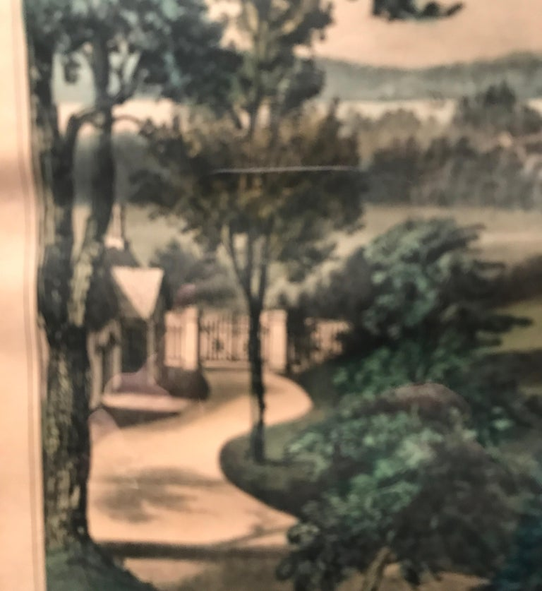 Currier and Ives Hand Colored Lithograph 'Life in the Country Evening' For Sale 1