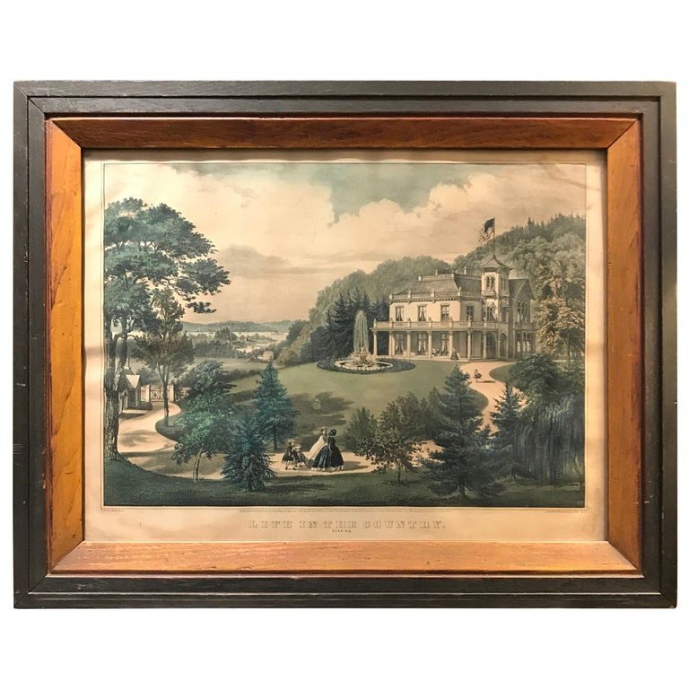 Currier and Ives Hand Colored Lithograph 'Life in the Country Evening' For Sale
