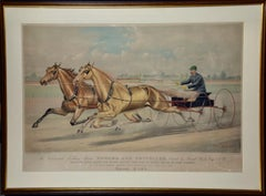"""19th C. Currier & Ives lithograph """"Celebrated Trotting Team Edward & Swiveller"""""""