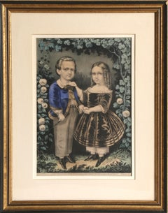 Boy and Girl, Hand-Colored Lithograph by Currier & Ives