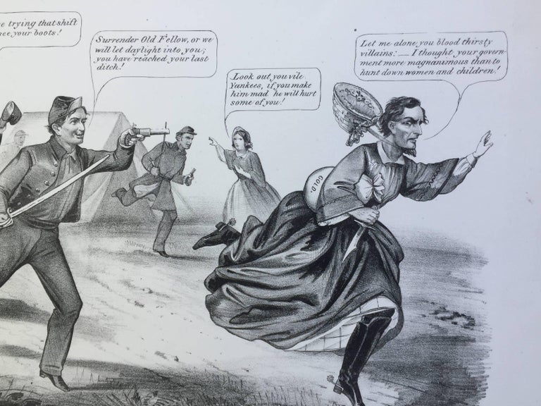 Capture of Jefferson Davis in Petticoats - Gray Print by Currier & Ives