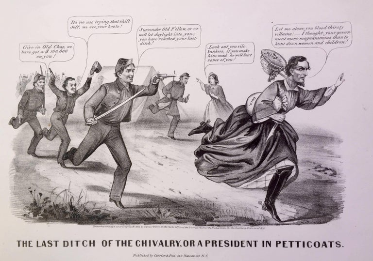 Currier & Ives Print - Capture of Jefferson Davis in Petticoats