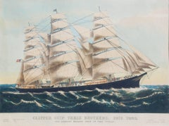 Clipper Ship THREE BROTHERS, 2972 tons. The Largest Sailing Ship in the World.
