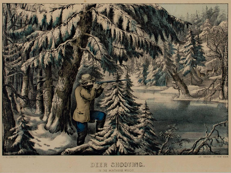 """""""Deer Shooting in the Northern Woods"""" is an original hand-colored lithograph by Currier & Ives. It depicts a landscape with a hunter aiming his gun at a deer on a winter day.   10"""" x 14"""" art 19 1/2"""" x 23 1/4"""" frame  Nathaniel Currier was a tall"""