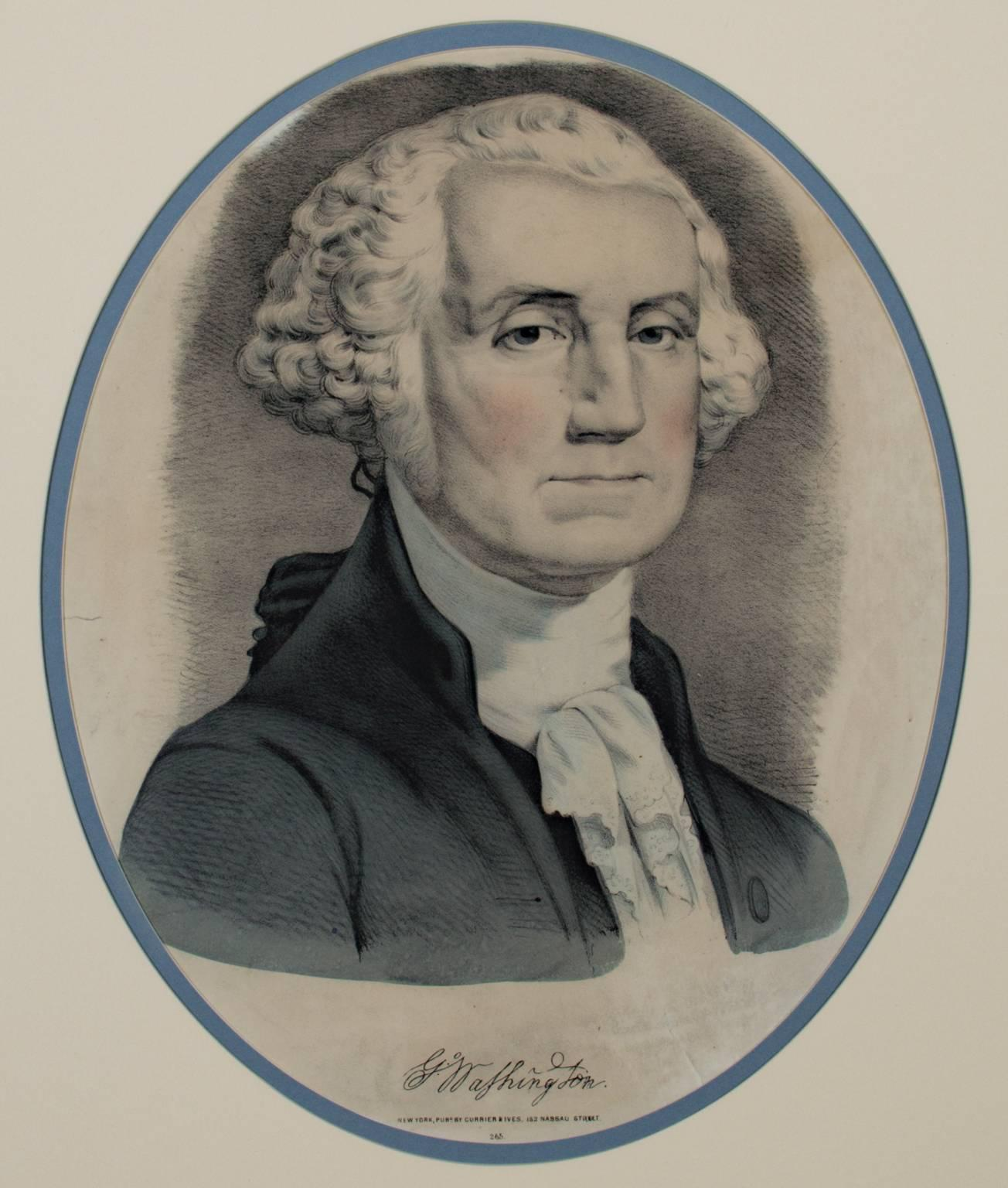 """""""George & Martha Washington,"""" Two Hand Colored Lithographs by Currier & Ives"""